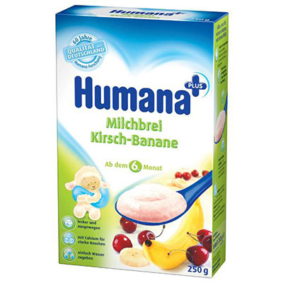 Humana Cereale lapte banane-cirese 250g