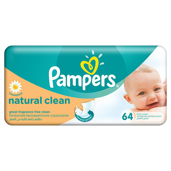 Pampers Baby Natural Clean servetele umede 64buc